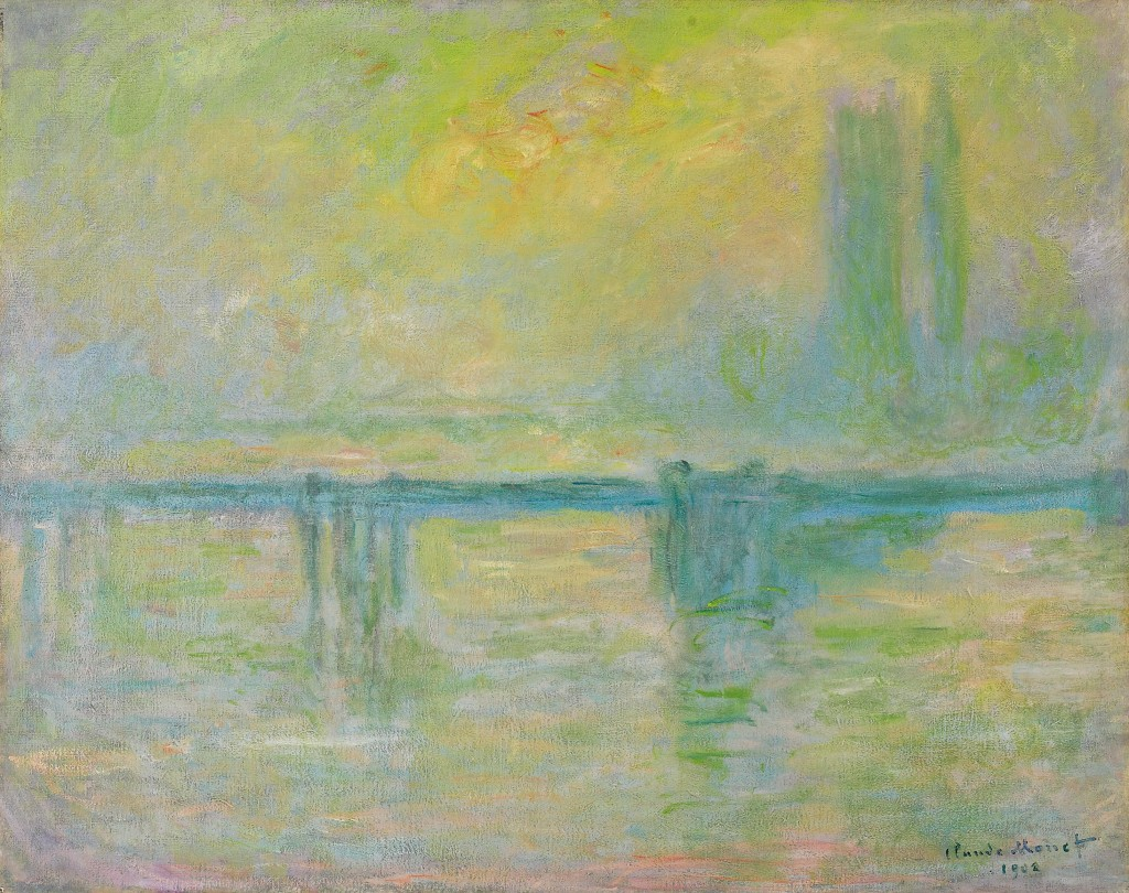 Claude-Monet,-Charing-Cross-Bridge-i-tåge,-1902,-olie-på-lærred,-73-x-92-cm,-Art-Gallery-of-Ontario,-Toronto,-Gift-of-Ethel-and-Milton-Harris,-1990